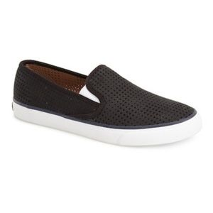 Sperry Seaside Black Perforated Slip On Shoes Sz 8